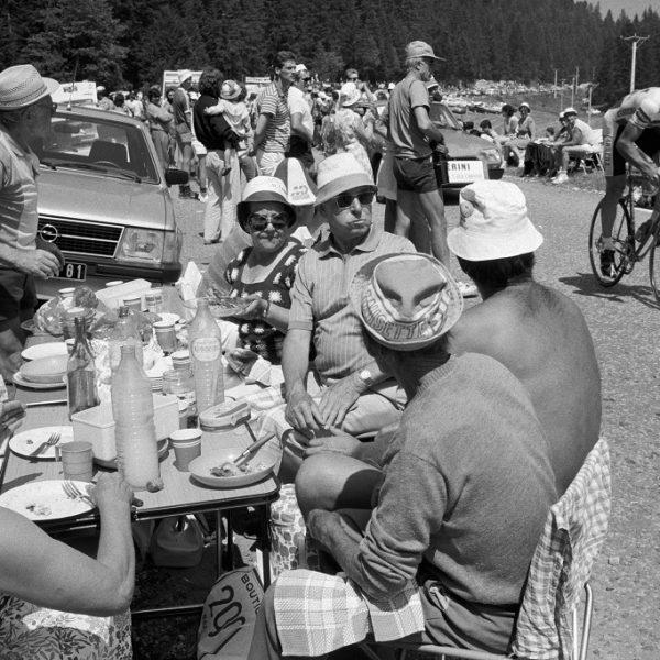 FRANCE. Villard de Lens. 11/07/1985: Spectators enjoying a meal and the show during a time trial of the Tour de France.